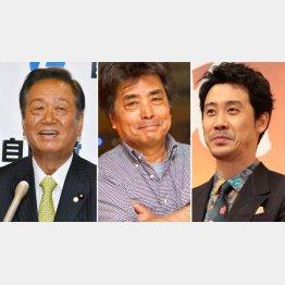 (左から)小沢一郎、村上龍、大泉洋の3氏は2浪している(C)日刊ゲンダイ