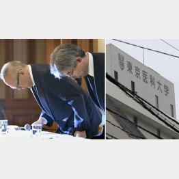 不正入試問題の会見で頭を下げる東京医科大常務理事ら(C)共同通信社