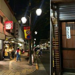 駅北口周辺を歩く(左)、「居酒屋0」(右)