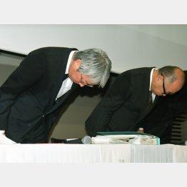 また謝罪に追い込まれたスバルの中村知美社長(左)/(C)日刊ゲンダイ