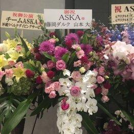 会場に飾られた御祝いの花