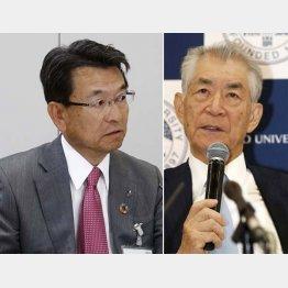 小野薬品の相良社長(左)と京大特別教授の本庶佑氏(C)共同通信社