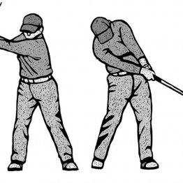 バックスイングは顔を45度右に向けると上体がよく回る