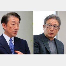 商工中金社長の関根正裕氏と作家の江上剛氏(C)日刊ゲンダイ