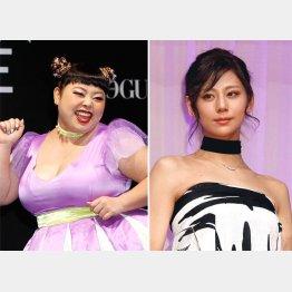 渡辺直美(左)と西内まりや(C)日刊ゲンダイ