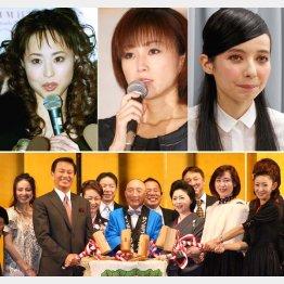 上は左から松田聖子、酒井法子、ベッキー、下は相澤会長の喜寿のお祝いとサンミュージック創業40周年(C)日刊ゲンダイ