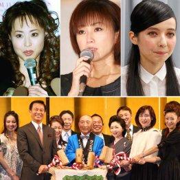上は左から松田聖子、酒井法子、ベッキー、下は相澤会長の喜寿のお祝いとサンミュージック創業40周年