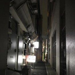 狭~い路地に明かりがポツポツ