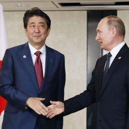 会談前にロシアのプーチン大統領(右)と握手する安倍首相