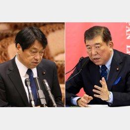 小野寺前防衛相(左)と石破氏(C)日刊ゲンダイ