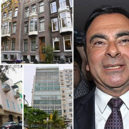 ゴーン容疑者の使用していた(左上から時計回りに)パリ、アムステルダム、ブラジルのリオデジャネイロ、ベイルートの各住宅