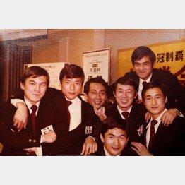 1978年、JSL、天皇杯、JSLカップの3冠制覇(一番下が本人、右から2番めが元日本代表監督・森孝慈氏)(提供写真)