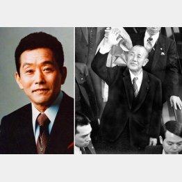 田中角栄(右)と佐川清創業者/(C)日刊ゲンダイ
