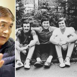 右は1975年のバルセロナ合宿にて。左から2人目が田口さん