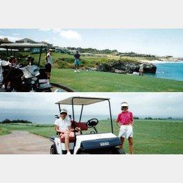 安井かずみ(写真下・右)とハワイマウイ島のカパルアでラウンド(提供写真)