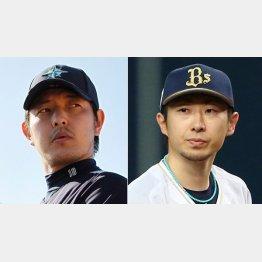 岩隈(左)と金子(C)日刊ゲンダイ