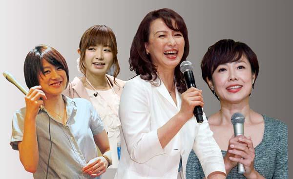 左から大島由香里、紺野あさ美、河野景子、有働由美子(C)日刊ゲンダイ
