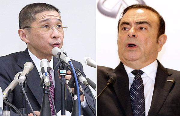 西川新会長で収まるのか(右はゴーン容疑者)/(C)日刊ゲンダイ