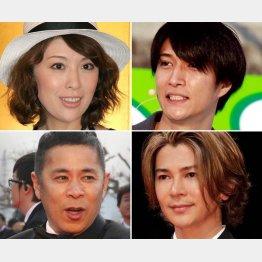 (左上から時計回りに)雛形あきこ、天野浩成、武田真治、岡村隆史(C)日刊ゲンダイ