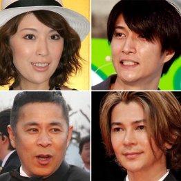 (左上から時計回りに)雛形あきこ、天野浩成、武田真治、岡村隆史