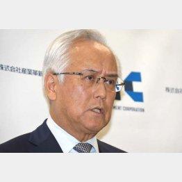 10日、辞任会見をする産業革新投資機構(JIC)の田中社長(C)日刊ゲンダイ