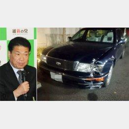 谷畑孝衆院議員(左)が運転していた車(C)日刊ゲンダイ