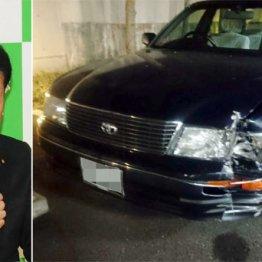 谷畑孝衆院議員(左)が運転していた車