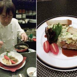 藤本シェフ(左)がほれ込んだ松波キャベツの鶏南蛮サンド(右)