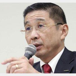 17日、記者会見する日産自動車の西川社長(C)共同通信社