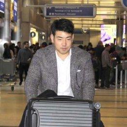 日本時間の17日、ロサンゼルス空港に到着した菊池