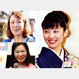 花田美恵子さん(右)と河野景子さん(左上)と藤田紀子さん(C)日刊ゲンダイ