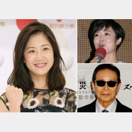 (左から時計回りに)NHKの桑子真帆アナ、有働由美子、タモリ(C)日刊ゲンダイ