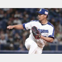 一塁側へ流れる投球フォームだから…(C)日刊ゲンダイ