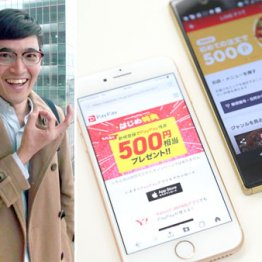 「PayPay」と「LINEデリマ」(左は元株長者芸人の井村俊哉氏)