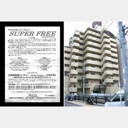 現場となった高田馬場のマンション(左は当時のイベントちらし)(C)日刊ゲンダイ