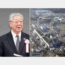 原発メーカーの会長も務める経団連の中西会長(左)と廃炉のめども立たない福島第一原発(C)共同通信社