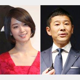 剛力彩芽(左)とZOZOの前澤社長(C)日刊ゲンダイ