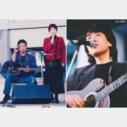 韓国フォーク会巨匠のチョ・ドンジンさん、左は新井英一さんと(提供写真)