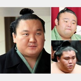 (左から時計回りに)白鵬、貴景勝、御嶽海(C)日刊ゲンダイ