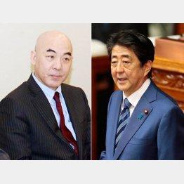 百田尚樹氏(左)と安倍首相(C)日刊ゲンダイ