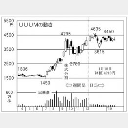 UUUMの株価チャート(C)日刊ゲンダイ