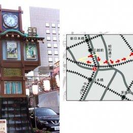 風情ある路地が多い(人形町のからくり時計)