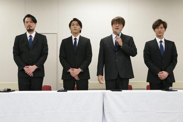 (左から)小田井涼平、白川裕二郎、酒井一圭、後上翔太(C)日刊ゲンダイ