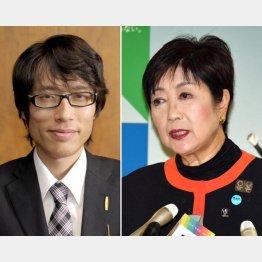 竹田恒泰氏(左)と小池都知事(C)共同通信社