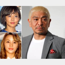 松本人志、左は上から夏菜と高橋メアリージュン(C)日刊ゲンダイ