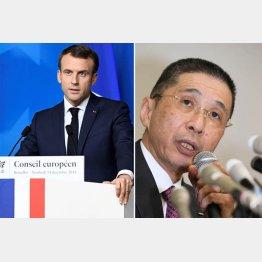 仏政府は何としても日産が欲しい(マクロン仏大統領、右は西川日産社長)/(C)ロイター=共同