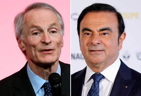 ルノー取締役会に辞表を提出したゴーン被告、左は後任会長のジャンドミニク・スナール氏(C)ロイター