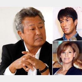 梅宮辰夫、右は上から羽賀研二、娘のアンナ(C)日刊ゲンダイ