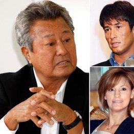 梅宮辰夫、右は上から羽賀研二、娘のアンナ