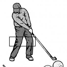 下半身押し込んで…フェースの刃をボール赤道に振り下ろす
